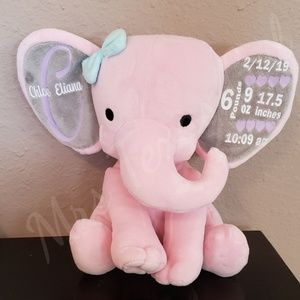 Baby Elephant Custom Birth Announcement